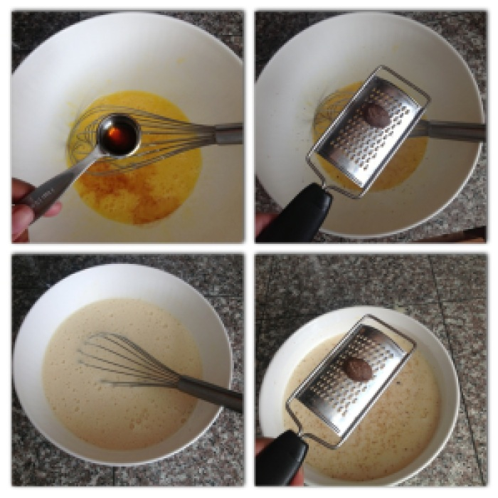 1. In a saucepan whisk together condensed milk and evaporated milk and warm until almost boiling.2. Whisk eggs together in a large mixing bowl and add, essence and about 1/4 tsp. nutmeg.3. Slowly add small amounts of warmed milk (about 1/2 cup at a time) to the egg mixture, while whisking vigorously. (This is called tempering the eggs).4. Pour mixture into a greased baking dish. Here I am using a 2 1/2 quart earthen baking dish.5. Grate some fresh nutmeg over the mixture and bake for 30 mins at 350 degrees.