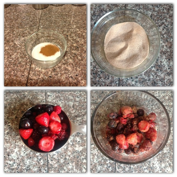 1. In a bowl mix together1/2 cup sugar and 1 tsp. ground cinnamon.2. Add 1 cup mixed berries to sugar mixture.