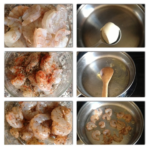 Peel and devein about 1/4lb shrimp. Season with salt and pepper, thyme, garlic powder, paprika and  pinch of cumin. Set aside and let marinade for 10 to 15 mins. Then, add 1 tbsp. butter to a warm skillet (on low to medium heat). Once butter has melted ad shrimp.Let cook for 2 minutes on each side, then remove from heat.