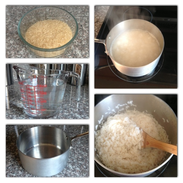 First you will need 2 cups of rice (I'm using parboiled long grain rice). Then, 2 cups water.Add rice and water to a saucepan and bring to boil on medium to high heat.Let boil for 5 minutes then reduce to low heat and let simmer until rice is fully cooked and all the water has evaporated.