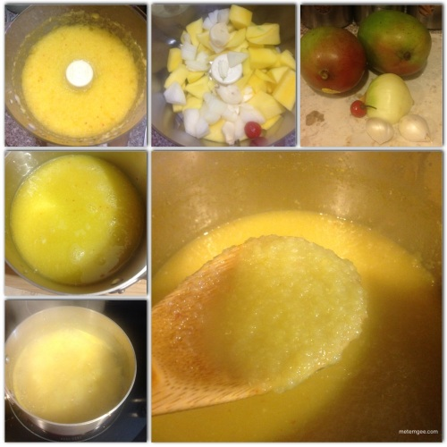 For this simple recipe you will need. 2 green mangoes (peeled and diced), 1/2 a medium onion (chopped), 2 cloves garlic, 1 wiri wiri pepper, 1 tsp cumin powder, 2 tbsp vinegar and salt to taste.1. Combine mangoes, onions, garlic and pepper in a food processor with 1/2 cup water and blend until very fine. 2. Place blended ingredients in a small pot. 3. Add 1 cup water, salt and cumin powder and bring to a boil. 4. Boil for 20 mins (stirring constantly). Then add vinegar and boil for an additional 5 minutes.6. Remove from heat and let cool. Enjoy with your favorite Guyanese savory snack.
