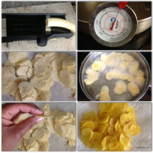 1. Slice plantains into thin circular pieces. The thinner the crispier.2. In a frying pan heat 3 cups of canola oil to 350 F.3. Add plantain and cook for about 1 minute or until golden in color. 4. Drain on a paper towel. Then add some salt and enjoy!