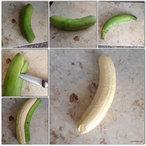 First peel the plantain.This is a quick and easy way to peel a plantain.1. Cut off the tips.2. Make for diagonal slits in the plantain. 3. Insert a knife under between one slit and under the plantain's skin.4. Peel downwards (similar to how you peel a banana).5. repeat until all four pieces of skin have been removed and the plantainn is completely peeled.