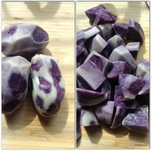For the mash potatoes, you will need 1lb purple potatoes, 1lb taro root, 1lb white potatoes.Peel the purple potatoes and cut into small chunks (for quick boiling).