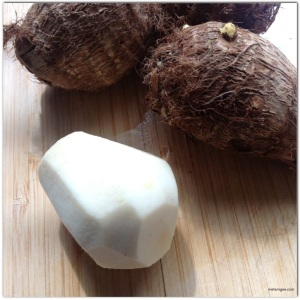 Peel the taro root and white potatoes (not pictured) and cut into small cubes.