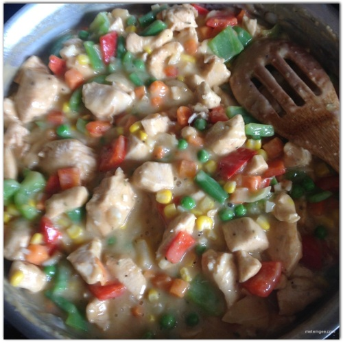 Add 2 cups frozen vegetables (defrosted) Cook for about 5 minutes, then remove from heat. If sauce becomes too thick after adding chicken and vegetables, feel free to add more chicken stock.