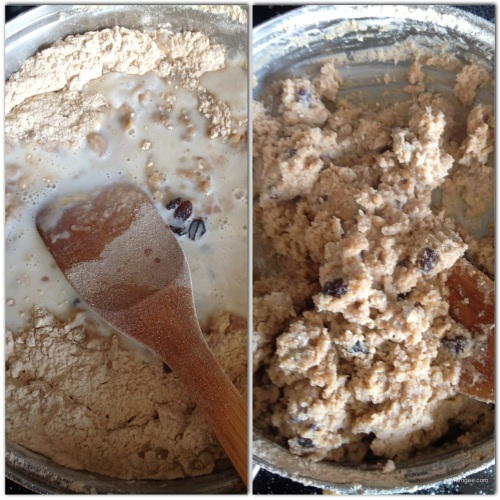 Add the milk and raisins the flour, once the flour reaches a warm brown color. Stir the flour and milk until the milk is completely mixed with the flour. Reduce heat to low and continue to stir until mixture becomes thick.