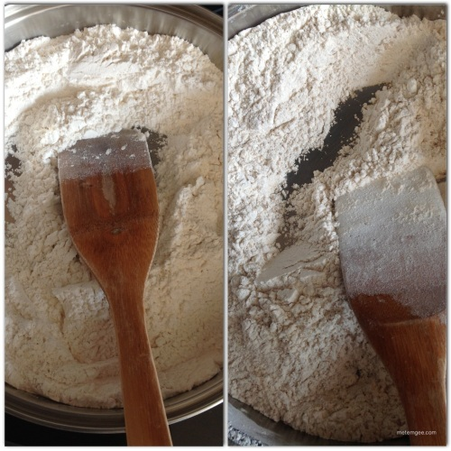Add two cups of flour to a large saute/frying pan on medium heat. Constantly turn the flour in the pan with a wooden spoon until the flour is evenly brown. This is called parching the flour.