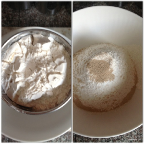 Sieve 3 cups flour, then add 1 packet rapid rising yeast (about 1 tbsp).