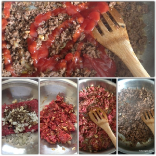 You will need 1lb lean ground beef, 1/2 onion finely diced, 4 cloves garlic (finely chopped), 1 tsp brown sugar, 1 tsp spicy brown mustard, 1 tbsp cassareep or soy sauce, 1 tsp dried thyme, salt and pepper to taste. Mix together and let marinade for about 30 mins. Then, add 1 tsp oil to a large skillet on medium heat. When oil is hot add marinated ground beef. Cook until beef is completely cook (about 10 mins). Then add about 4 tbsp ketchup. Mix together and let cool.
