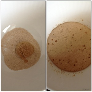 First let's set the yeast.Add 1 tbsp dry active yeast and 1 tbsp brown sugar to 1/4 cup of warm water and let sit for at least 5 minutes until yeast ferments.