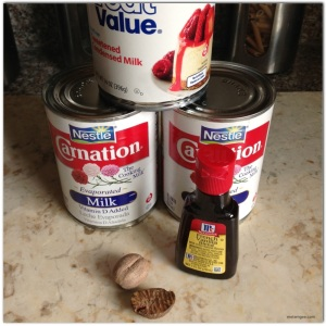 2 cans evaporated milk 1 can condensed milk 6 eggs (not pictured) 1 tsp french vanilla essence 1 tsp nutmeg A bowl or ice pop mold, to set the custard.
