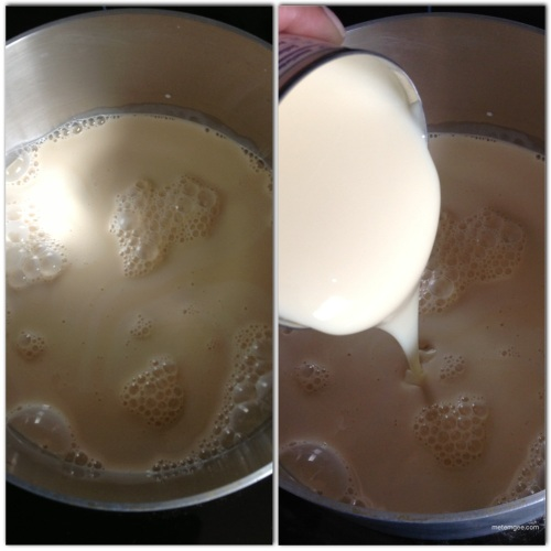 Combine Evaporated milk and condensed milk in a medium saucepan.