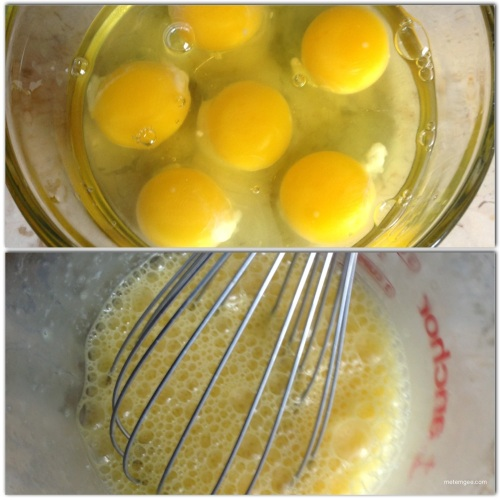 Whisk eggs in a small bowl until fluffy.