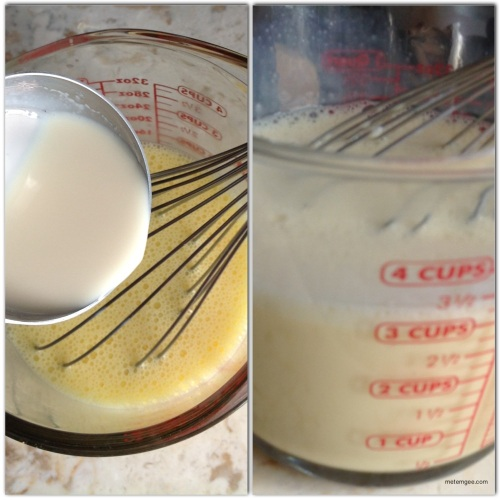 Temper milk into eggs by adding warm milk, 1/2 cup at a time to the whisked eggs until all is combined.