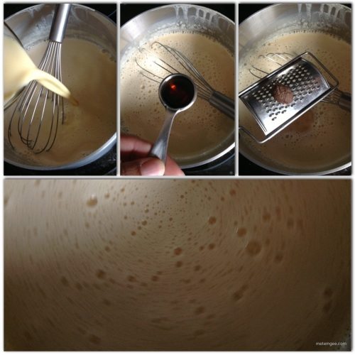 Return egg and milk mixture to the saucepan. Add 1 tsp french vanilla essence and 1 tsp grated nutmeg. Whisk and return to the heat.  The next step happens quickly so be very careful or you'll have scrambled eggs.  Keep whisking mixture while on the heat until it bubbles (boils a little).  At the sign of the first bubble remove from heat.