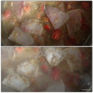 Add Tilapia Pieces to sauce. Cook on each side for about 3 minutes.