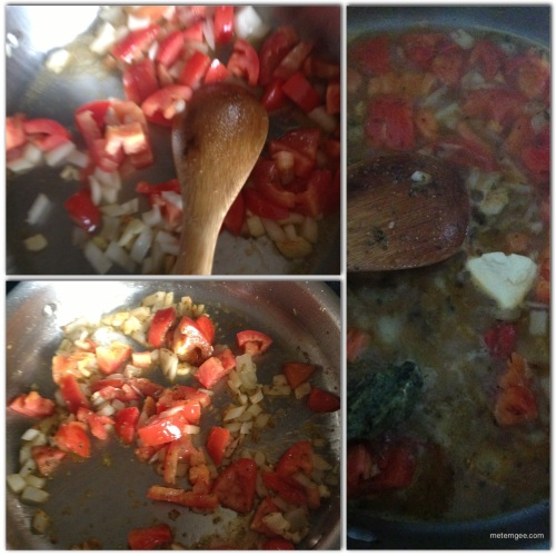 In a medium suace/saute pan on high heat warm 2 tbsp extra virgin olive oil.  Cook, onions, garlic and tomatoes until soft. When cooked, add 1 tbsp butter, 1/2 cup of sweet white wine and 1 tbsp pesto (I had store bought pesto).