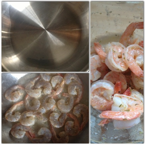 In a medium saucepan on high heat, warm 2 tbsp extra virgin olive oil.  When oil is hot, add seasoned shrimp and cook on each side for about 1 minute (until each side is a light pink color). Remove from heat and reserve.