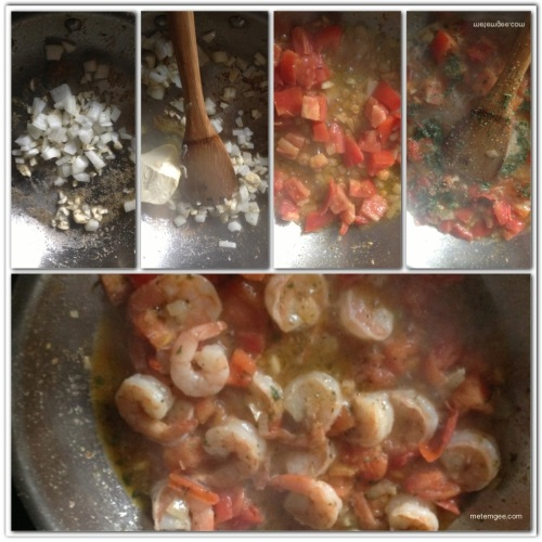 Using the same saute pan, on medium heat, cook 1/2 diced onions and 3 finely chopped garlic cloves, in a dash of olive oil.  When onions are brown and soft, add 2 diced roma tomatoes, salt and pepper to taste and 1 tsp parsley flakes. Cook until tomatoes are soft, then add 1/2 cup sweet white wine and 1 tbsp butter. Add shrimp and cook for 2 to 4 minutes.