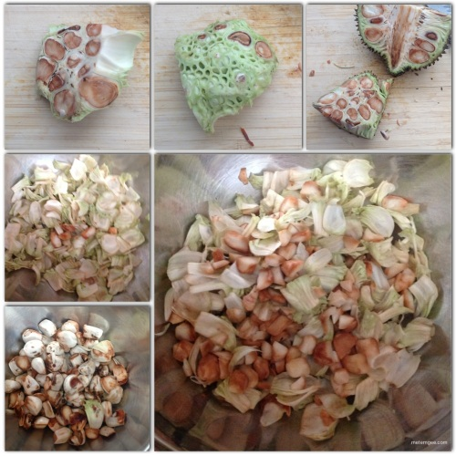"First, you will need to peel off the tough green skin from the Katahar. Then, separate the ""flesh"" from the seeds/nuts. Next, you must remove the outer shell from the seeds. Finally, I shredded the flesh in to tiny strips and cut the seeds/nuts into halves."