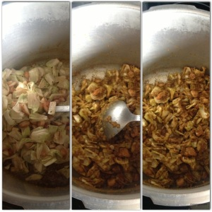 When most of the liquids have evaporated from the paste and the curry almost brown in color, add the katahar.