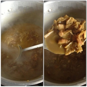 Add 5 cups of water and pressure cook until flesh and nut are tender (melts in your mouth tender).