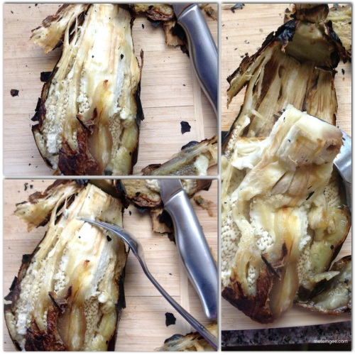 Use a fork to scoop out the fleshy parts of the eggplant from the charred skin.