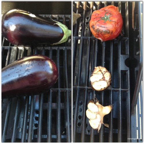 I placed the eggplant and tomatoes and the rest of the garlic on the grill to roast. You can also roast your garlic this way for the choka, but I was making a dish for dinner that required roasted garlic, so I was killing two birds with one stone.