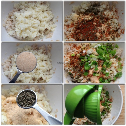 Add flaky salt fish to a small mixing bowl and add: 1. Crushed potatoes 2. 1 tbsp granulated garlic (garlic powder) 3. 1 tsp crushed dried thyme 4. 1/4 tsp cayenne pepper 5. 3 heads of green onions finely chopped. 6. The juice of 1/2 a lime.