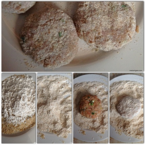 Add 1/4 cup of all purpose flour to 1 cup seasoned Italian bread crumbs.  Mix together then completely coat fish cake with bread crumbs and flour mixture.