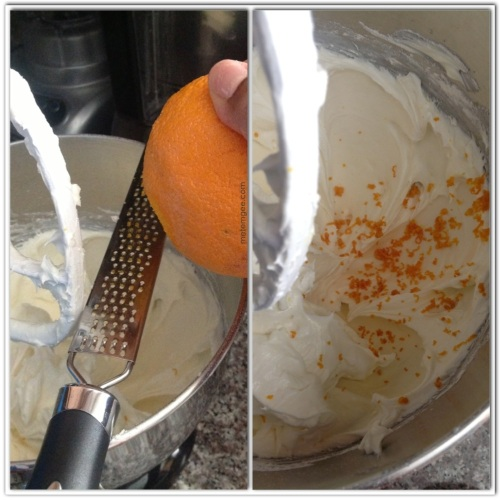 Add about 1 tbsp of orange zest and continue to mix on a low speed.