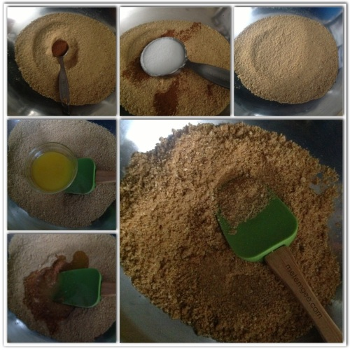 Add 1 1/2 cups of graham cracker crumbs to a mixing bowl.  Then combine 1/4 cup of granulated sugar, 1 tsp ground cinnamon and 1/2 cup of melted butter with the graham cracker crumbs.  Mix together to form of crumbly, some what wet consistency.