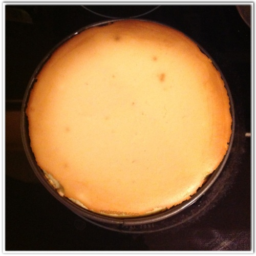 Remove from oven and let cool until cheesecake sets. This can take up to 6 hours.  Disclaimer: My husband likes his cheesecake dense so I like it bake until its a bit brown and the center is firm.