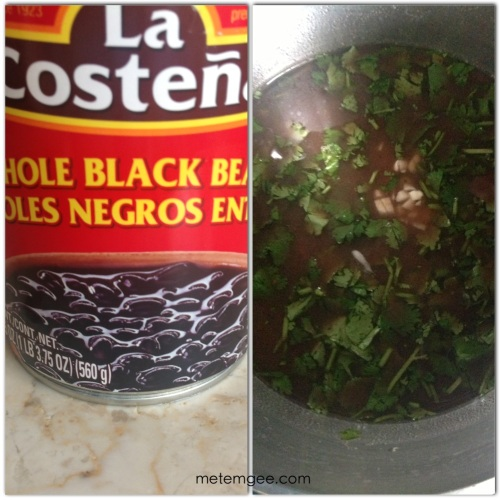 For the black beans, I used canned beans. Add beans with water to a small sauce pan. Add 1/4 cup of chopped cilantro, a pinch of salt, cayenne pepper and cumin powder. Let simmer for about 5 to 20 minutes on medium heat. Then remove from heat and serve.