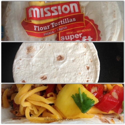 I am using flour tortillas for my tacos.  Warm tortillas on a hot skillet, add fish, then top with mango salsa and some shredded cheddar cheese (if you like).