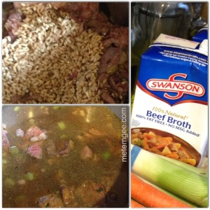 Once beef bones have browned for about 5 to 10 minutes, add beef and saute for another 3 minutes. Then add soaked barley (minus the water). Add remaining ingredients followed by beef broth.