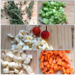Chop the potatoes and carrots into small 1 inch cubes cubes. Chop garlic and celery into chunks. Remove thyme from stems.