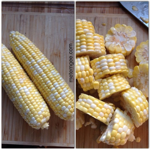 Next prep your corn. Peel corn and cut into 1 inch pieces (if you have a good knife and the corn is fresh, this will be pretty easy).