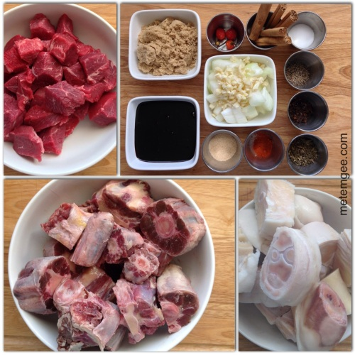 For this recipe, I am using: 1.5 lbs Beef [I used a chuck roast, then cut it into 1 inch cubes) 2 lbs Oxtail 3lbs Cow Heel [may also be called cow feet in some supermarket) 1 cup cassareep [divided into 2) 1/2 cup brown sugar 1 large yellow onions diced 6 large cloves of garlic finely chopped 1 tsp cayenne powder 5 cinnamon sticks 1 tbsp granulated garlic 3 wiri wiri peppers 1 tbsp whole clobes 2 tbsp salt 1 tsp fresh ground black pepper 2 tbsp dried Guyanese thyme